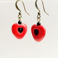 Red Heart Black Soul Earrings by VexedUpBoutique on Etsy Jewelry Design, Unique Jewelry, Wire Art, Chainmaille, Semi Precious Gemstones, Czech Glass, Jewellery, Drop Earrings, Boutique
