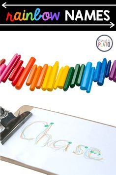 Add a bit of color and flare to name writing practice! In this activity, kids will practice tracing their name over and over again in rainbow colors! Name Writing Activities, Name Writing Practice, Kids Writing, Fine Motor Activities For Kids, Games For Toddlers, Toddler Activities, Red Crayon, Purple Crayon, Homeschool Kindergarten
