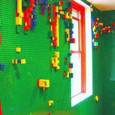 Lego walls... would probably be crazy messy but pretty awesome still