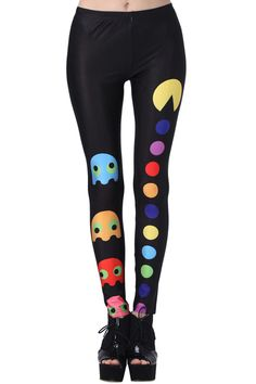 """""""Pac-Man"""" Black Leggings. Description Leggings, have been crafted from elastic fabric design, featuring """"Pac-Man"""" print , a stretchy waist and all in a soft-touch stretch. Fabric Dacron and Spandex. Washing 40 degree machine wash , low iron. #Romwe"""