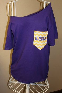 LSU Tigers Pocket OfftheShoulder Shirt Chevron by SewSnazzybyBrook, $28.00