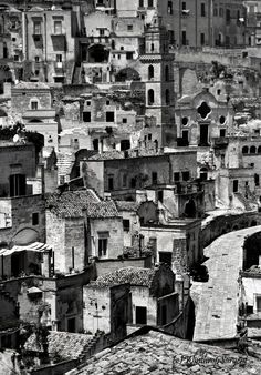 Matera, Italy by WSargent - Downtown in Black and White Photo Contest Black And White Picture Wall, Black And White Words, Black And White People, Black And White Aesthetic, Black And White Pictures, Building Photography, Types Of Photography, Street Photography, Landscape Photography