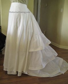 1870s Trained petticoat with corded ruffles [how it was made] | HistoricalSewing.com