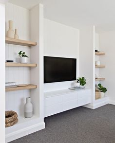 Home Decoration Ikea .Home Decoration Ikea Living Room Tv, Living Room Interior, Home And Living, Built In Shelves Living Room, Tv Wall With Shelves, Tv Wall Ideas Living Room, Built In Tv Wall Unit, Living Room Cupboards, Hamptons Living Room