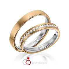 1 Paar Trauringe - Legierung: außen Roségold 585/- , innen Graugold 585/- Breite: 3,50 - Höhe: 1,90 - Steinbesatz: 15 Brillanten zus. 0,225 ct. tw, si (Ring 1 mit Steinbesatz, Ring 2 ohne Steinbesatz)