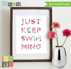 Watercolor Just keep swimming Print Watercolor by InkSprouts