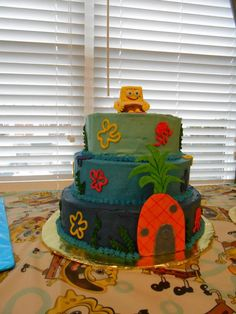 Sponge Bob Cake--I would make Spongebob bigger...