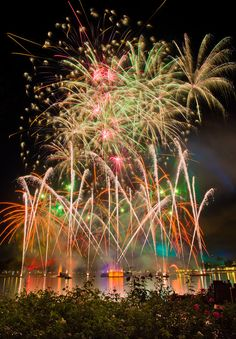 Epcot's Illuminations is a nightly fireworks spectacular.  There are many great viewing locations including some of the restaurants around World Showcase Lagoon.  Not to be missed!