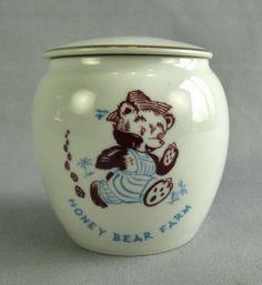 Vintage Honey Bear Farm Porcelain Honey Pot Jar Genoa Wisconsin Powers Lake