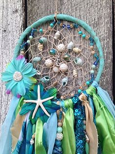 Amazon.com: Mermaid Dreamcatcher - mermaid collection - mermaid decor - star fish - dream catcher - gypsy dreamcatcher - sea shell dreamcatcher: Handmade