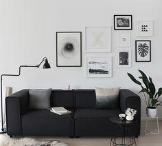 Decoração e Ideias | casa e jardim: Sala decorada com sofá preto