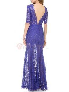 Most Fashion Back V Lace Floral Transparent Pure Color Hem Long Dress Women Summer Spring Evening Dress on buytrends.com