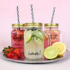 When lifes gives you lemons make Gin and Tonic. Glass Drinking Mason Jar With Straw. Its Happy Hour. Cocktail Jars, Mason Jar Cocktails, Cocktail Recipes, Mason Jars, Cocktail Making, Drinks, Drinking Jars, Mason Jar Drinking Glasses, Mason Jar With Straw