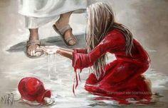 Vrou was Jesus se voete Spiritual Paintings, Jesus Painting, Bride Of Christ, Prophetic Art, Jesus Art, South African Artists, Daughters Of The King, Jesus Pictures, Angel Art