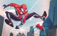 Spiderman Anime, Spiderman Suits, Spiderman Costume, Marvel Art, Marvel Heroes, Marvel Comics, Spider Art, Spider Verse, Comic Frame