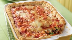 Get all the flavor of lasagna with three rich cheeses, seasoned beef and tomato sauce baked in an impossibly easy pie.