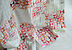 grumpystitches:  Hour glass quilt - WIP by balu51 on Flickr.