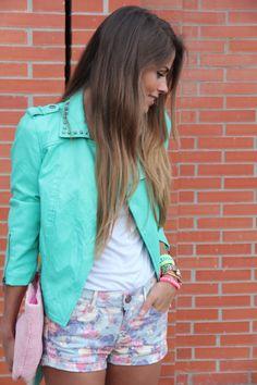 mint jacket + Patterned shorts