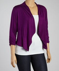 Another great find on #zulily! Purple Open Cardigan - Plus #zulilyfinds