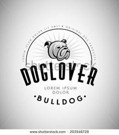 Bulldog Head Vintage Emblem. Dog Logo. Vector Illustration.