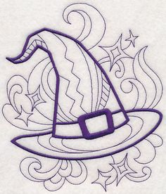 68 Ideas hat witch drawing coloring pages Hat Embroidery, Machine Embroidery Patterns, Machine Quilting, Witch Painting, Witch Drawing, Halloween Stickers, Halloween Crafts, Library Drawing, Witch Coloring Pages