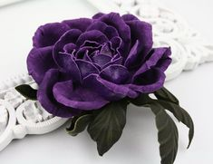 Purple Leather Rose Flower Brooch/Hairclip, Leather Rose Pin, Gold Flower, Leather Flower, Floral Brooch