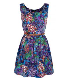 Look at this Purple Floral Skater Dress on #zulily today!