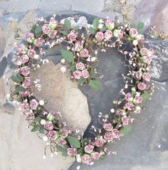 Heart Shaped Wreath  purple mauve  Spring  door by laurelsbylaurie, $55.00