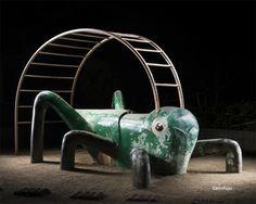 Photos of Japanese Playground Equipment at Night by Kito Fujio (Colossal) Backyard Games Kids, Backyard Playground, Backyard Ideas, Playground Design, Children Playground, Backyard Layout, Backyard Hammock, Hammock Swing, Patio Ideas