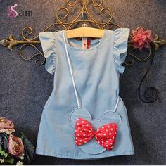 2 UNIDS/estilo coreano de la manera niños ropa de niño lindo de La Princesa Vestido de verano + arco bolsa de banda niñas boutique sistema de la ropa(China (Mainland))