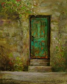 'Old Green Door'  painting by artist Justin Clements