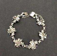 4819c17e2 Sterling Silver Floral or Ribbon Link Bracelet, Stacking Bracelet, Estate,  1940's Pat. Unique Clasp, Marked Sterling, Vintage Gift for Her