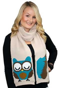 Owl Scarf, a knit winter scarf for women. Great gift for the fun at heart:)