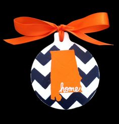 Auburn Chevron Christmas Ornament - Handpainted - State of Alabama - War Eagle - Hometown appreciation