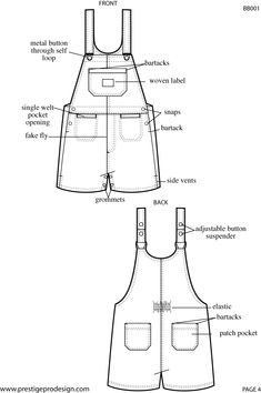 Discover thousands of images about Kid's overalls technical fashion flat sketch Baby Bibs Patterns, Animal Sewing Patterns, Sewing Patterns For Kids, Dress Sewing Patterns, Sewing For Kids, Clothing Patterns, Doll Patterns, Flat Drawings, Flat Sketches