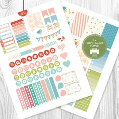 Flower Printable Planner Stickers for HAPPY by AlakazooDesigns