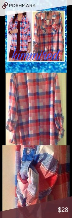 Red/White/Blue Plaid Button Down Top/Shirt ~ 3X PLEASE PAY ATTENTION TO MY OFFER CHART BEFORE MAKING AN OFFER‼️ Submitting a low offer is NOT NEGOTIATING‼️ If I'm lowballed, I'm blocking. I've very nice clothes & I put a lot of time on my listings. Please be respectful & remember Posh takes an additional 20%! *rant over*  Plus Red/Pink/White/Blue Plaid Button Down Top/Shirt ~ 3X ~ NWT  Can roll up the sleeves or wear as long sleeves Beautiful colors Is very soft   No smoking   No…