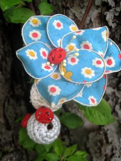 Vintage Blue Flower Clip by frillsandfuss on Etsy, $12.00