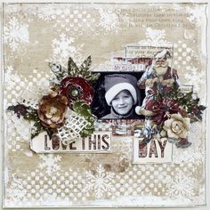 C'est Magnifique Scrapbook Kits and Store: Ulrikas December Kit and a Farewell - used hole punches as snowflakes with gesso over them. Great idea!