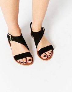 sandales plates femme, sandales noires femme