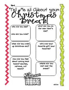 tell Me about your christmas winter break {reflection afte