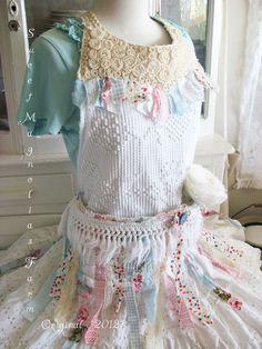 Sweet Magnolias Farm Original.. Vintage Chenille Bib / Tool Style Apron Cottage Gypsy.. $68.50