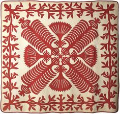 Queen Kapi'olani's Fan Quilt, early twentieth century, Hawaii. The American Museum in Britain : The only museum of Americana outside the Un. Textiles, Textile Patterns, Textile Art, Quilt Patterns, Quilting Ideas, Old Quilts, Antique Quilts, Vintage Quilts, Hawaiian Art