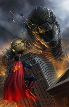Superman vs Godzilla 11x17 Digital Art Print