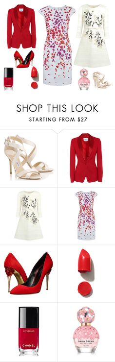"""Elimar"" by marciabackermendes ❤ liked on Polyvore featuring Jimmy Choo, Giambattista Valli, Hobbs, Oscar de la Renta, NARS Cosmetics, Chanel and Marc Jacobs"