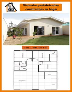 Full House Prefabricados 4 Bedroom House Designs, Guest House Plans, Bungalow, Tiny House, Art Nouveau, Floor Plans, Construction, Outdoor Structures, How To Plan