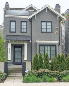 Best Exterior Paint Colors For House Charcoal Window Ideas Best Exterior Paint, Exterior Paint Colors For House, Paint Colors For Home, Stucco House Colors, Black House Exterior, Grey Exterior, Black Windows Exterior, Exterior Paint Combinations, Color Combinations
