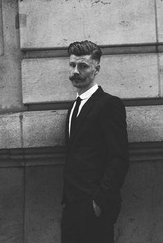 Groom Hair Styles, Hair And Beard Styles, Long Hair Styles, Pompadour Fade, Mustache Styles, Style Masculin, Beard No Mustache, Handlebar Mustache, Rockabilly Fashion