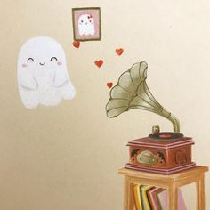 "Laure S on Instagram: ""A new little ghost !  Drawing this one was a real challenge ! 😅but it was fun ! I really like old gramophone !  Have a good weekend ! . . .…"""