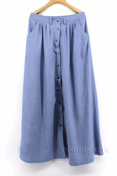 Long Casual Denim Skirt